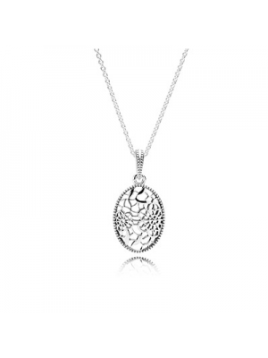 Lady Fashion Floral Daisy Lace 925 Sterling Silver Necklace