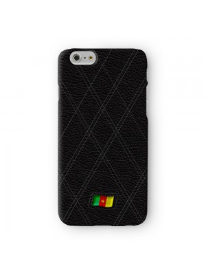 Stylish Black Leather Flag of Cameroon - Cameroonian Flag Full Wrap 3D Printed Case for Apple iPhone 7 7S Plus by World Flags