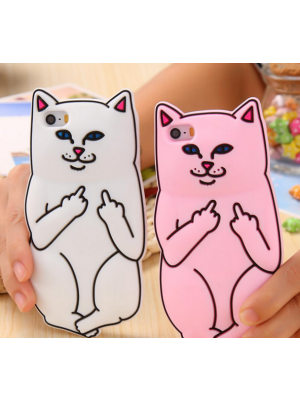 3D Soft Silicon Middle Finger Cat Case For iPhone 6 6s Plus / iphone 6 6s / 5 5s Cartoon Animals Rubber Cover For iPhone 7/7 Plus plus