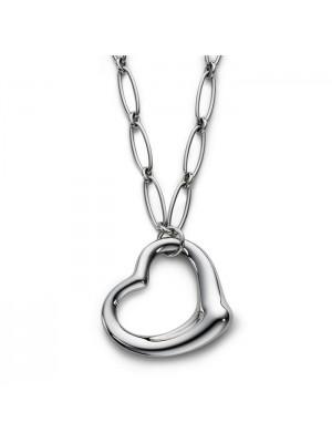 Lady Fashion Elsa Peretti OPEN HEART link 925 silver necklace