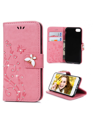 Luxury Flip Leather iPhone 7/7 Plus Plus Wallet Card Case Bling Diamond Rhinestone Flower Butterfly Pu Leather Cases For iPhone 6S 7 Plus