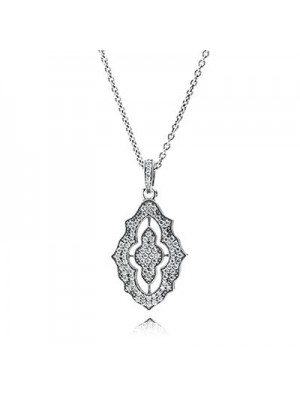Lady Fashion Sparkling Lace with Clear CZ 925 Sterling Silver Necklace