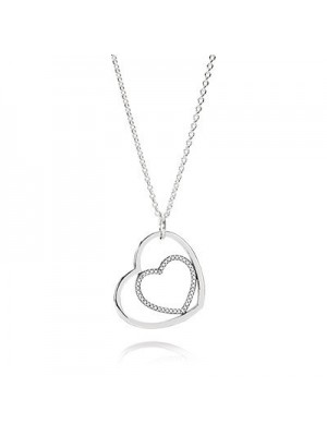 Lady Fashion Hearts silver pendant with cubic zirconia and 925 Sterling Silver necklace