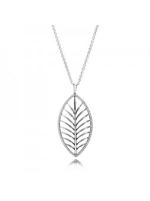 Lady Fashion Tropical Palm with Clear CZ 925 Sterling Silver Necklace