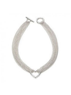 Lady Fashion Ten Row Heart Toggle 925 silver necklace