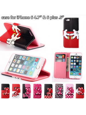 Wallet Case iPhone 6 plus Flip Cover With Butterfly Bowknot & Cartoon dot Phone Cases For iphone 4/4s/5/5s/6/6plus iphone se 7