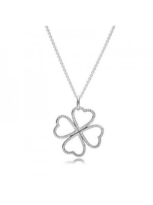 Lady Fashion Heart clover silver pendant with clear cubic zirconia and necklace