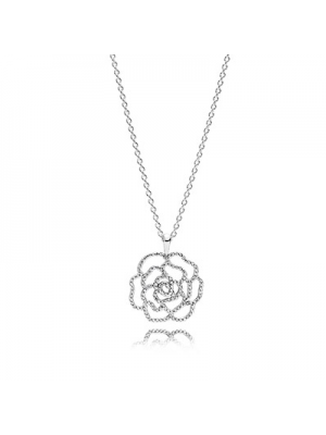 Lady Fashion Rose silver pendant with cubic zirconia and 925 Sterling Silver necklace