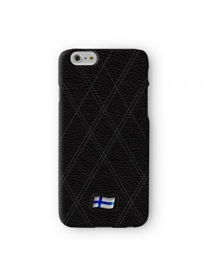 Stylish Black Leather Flag of Finland Finnish Flag Suomen lippu Finlands flagga Full Wrap 3D Printed Case for Apple iPhone 6 6S Plus by World Flags