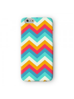 Blue and Orange ZigZag Chevron Pattern Full Wrap 3D Printed Case for Apple iPhone 6 6S Plus by UltraCases