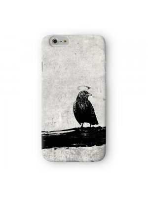 Black Grunge Crow Bird on Light Gray Full Wrap 3D Printed Case for Apple iPhone 6 6S Plus by UltraCases
