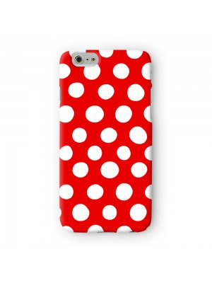 White and Red Polka Dot Pattern Full Wrap 3D Printed Case for Apple iPhone 6 6S Plus by UltraCases