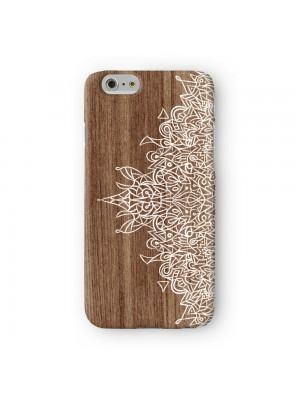 White Hand Drawn Mandala Pattern on Wood Grain Texture Full Wrap 3D Printed Case for Apple iPhone 7 7S Plus by UltraCases