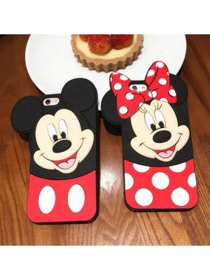 3D Cartoon Lovely Polka Dot Bow Mouse Case for iPhone 7/7 Plus 7 Plus 5S SE 6 6S 6 Plus Soft Silicone Phone Back Cover