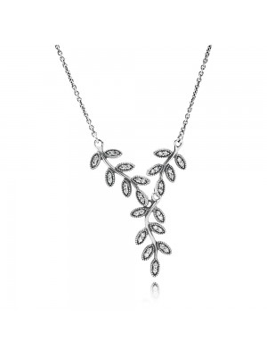 Lady Fashion Leaves Silver Collier With Cubic Zirconia 925 Sterling Silver Necklace
