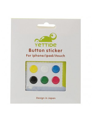 6pcs Candy Color Soft Home Button Sticker for iPad iPod iPhone 5 4G 4S iphone 6S plus iPhone 7/7 Plus Plus