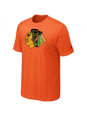 Chicago Blackhawks Mens Team Logo Short Sleeve T-Shirt - Orange