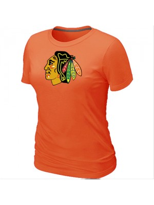 Chicago Blackhawks Women's Team Logo Short Sleeve T-Shirt - Orange