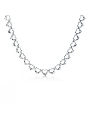 Lady Fashion Elsa Peretti Continuous Open Heart 925 silver necklace