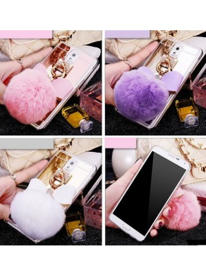 S7 Cases Rabbit Fur Ball bowknot Metal Soft Mirror TPU Girly Cover For Samsung Galaxy Note/3/4/5 S4 S6 edge plus S7 Edge iPhone 7/7 Plus Ring Cases
