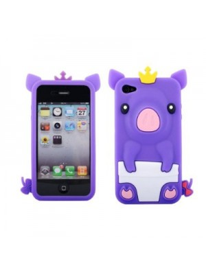 Cute iPhone 7/7 Plus Piggy Pink 3D Pig Silicone iPhone 5/5S/6/6S 7 Plus Case Cover (Purple)