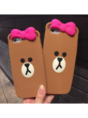 iPhone 6 6s 7 Plus Cute 3D Cartoon Teddy Bear Soft Silicon Phone Case Skin Cover for iPhone 7/7 Plus