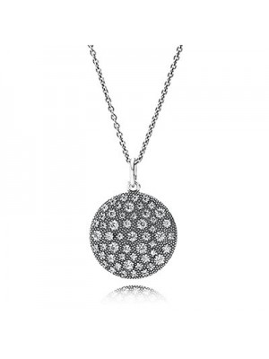 Lady Fashion Cosmic Stars with Clear CZ 925 Sterling Silver Necklace