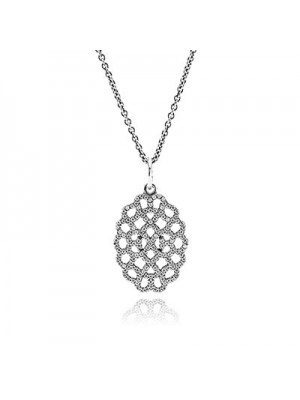 Lady Fashion Shimmering Lace with Clear CZ 925 Sterling Silver Necklace
