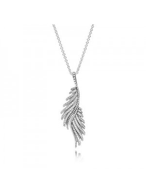 Lady Fashion Majestic Feathers with Clear CZ 925 Sterling Silver Necklace