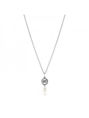 Lady Fashion Silver Necklace With White Pearl Pendant 925 Sterling Silver Necklace