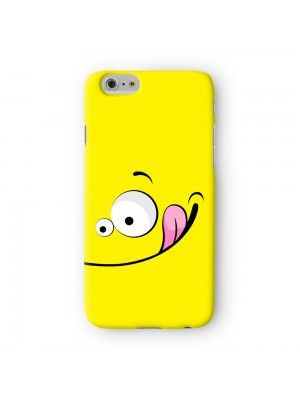 Vector Style Big Cute Smiling Face on Yellow Full Wrap 3D Printed Case for Apple iPhone 6 6S Plus by UltraCases