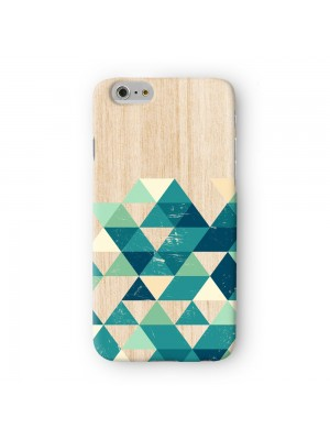 Green and Teal Geometric Triangles on Wood Textures Full Wrap 3D Printed Case for Apple iPhone 6 6S Plus by UltraCases