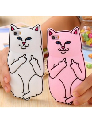 3D Soft Silicon Cat Case For iPhone 7/7 Plus plus iphone 6 6s Plus 5 5s Cartoon Animals Rubber Cases Middle Finger Cover