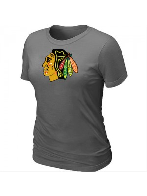 Chicago Blackhawks Women's Team Logo Short Sleeve T-Shirt - Dark Grey
