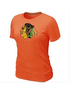 Chicago Blackhawks Women's Team Logo Short Sleeve T-Shirt - Orange