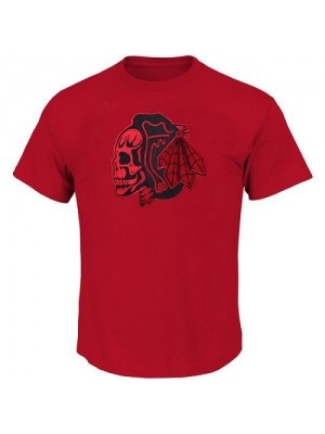 Men's Chicago Blackhawks T-Shirts - Red/Red Skull