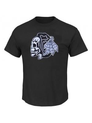 Men's Chicago Blackhawks T-Shirts - Black/White Skull