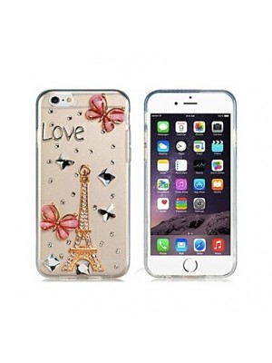iPhone 6s 6 7 PLUS Eiffel Tower Pattern Crystal & Rhinestone Decorated Transparent Cases FOR iPhone 7/7 Plus