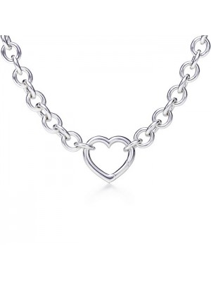 Lady Fashion Link necklace with heart clasp 925 silver