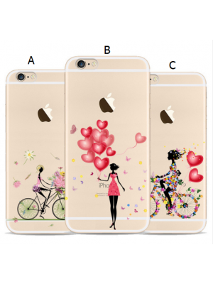 New Cute iPhone 7/7 Plus Girl Cases Transparent Soft TPU Phone Case For Apple Iphone SE 6 6S 7 plus Back Cover