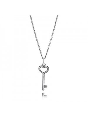 Lady Fashion Unlock My Heart with Clear CZ 925 Sterling Silver Necklace