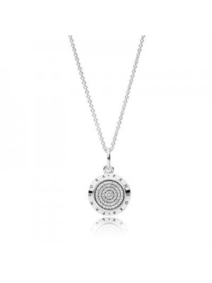 Lady Fashion Signature with Clear CZ 925 Sterling Silver Necklace