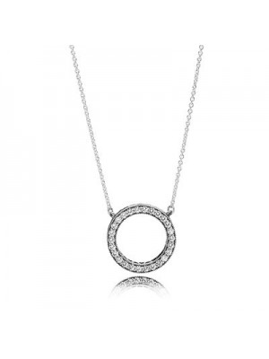 Lady Fashion Hearts Of With Clear CZ 925 Sterling Silver Necklace