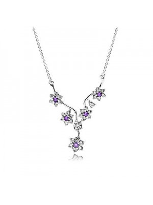 Lady Fashion Forget Me Not 925 Sterling Silver Necklace