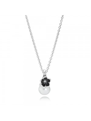 Lady Fashion Floral Silver Pendant With White Freshwater Cultured Pearl, Cubic Zirconia, Black Enamel And Necklace