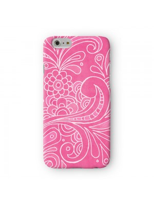 White Vector Floral Pattern on Pink Full Wrap 3D Printed Case for Apple iPhone 6 6S Plus by UltraCases