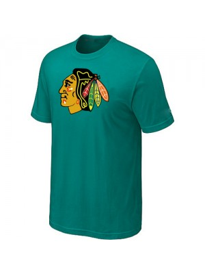 Chicago Blackhawks Mens Team Logo Short Sleeve T-Shirt - Green