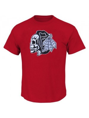 Men's Chicago Blackhawks T-Shirts - Red/White Skull