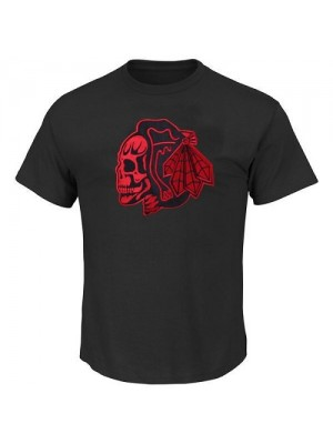 Men's Chicago Blackhawks T-Shirts - Black/Red Skull