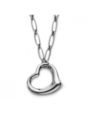 Lady Fashion Elsa Peretti OPEN HEART link 925 silver necklace